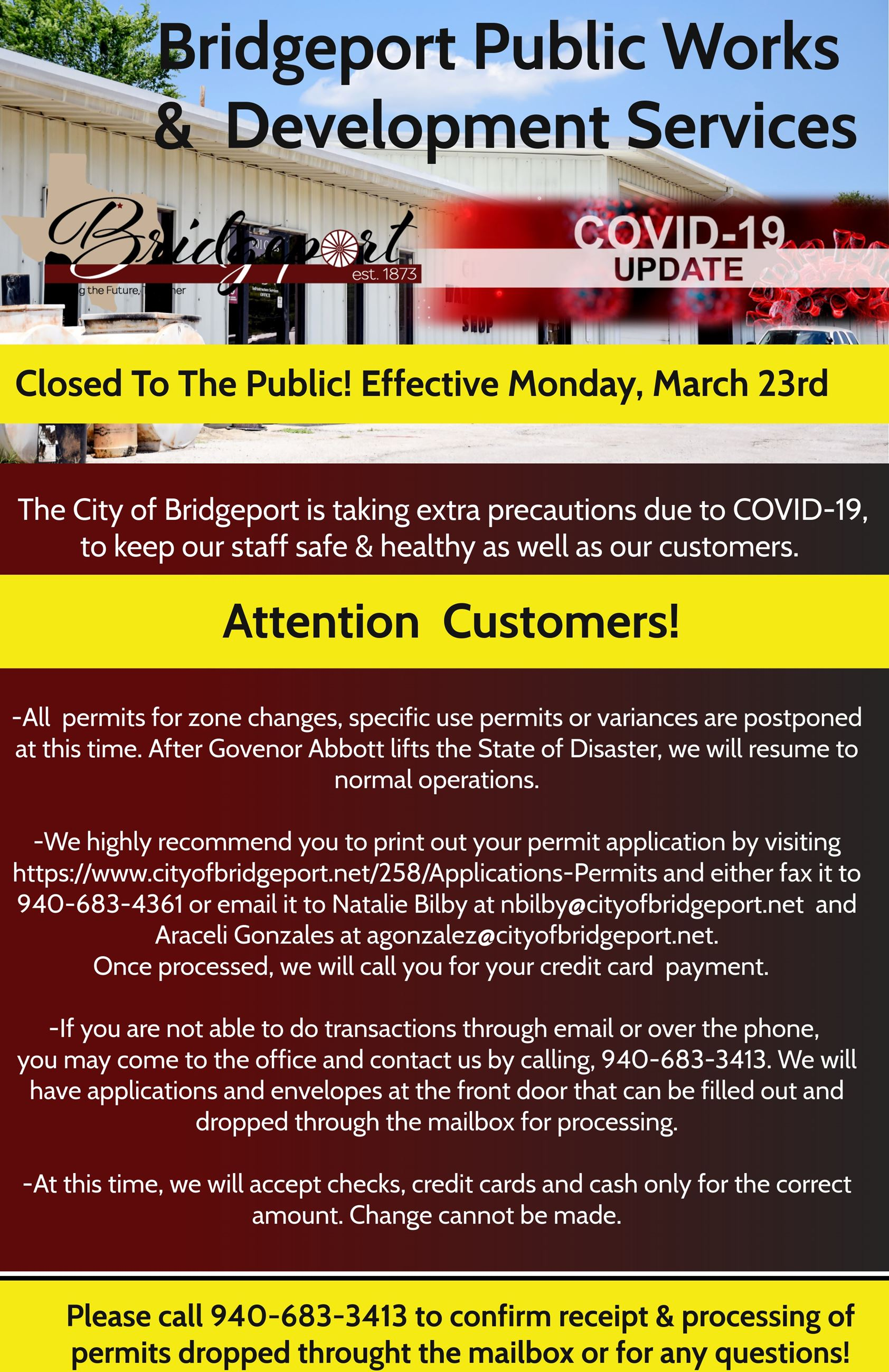 COVID-19 Closure of Public Works Office  Development