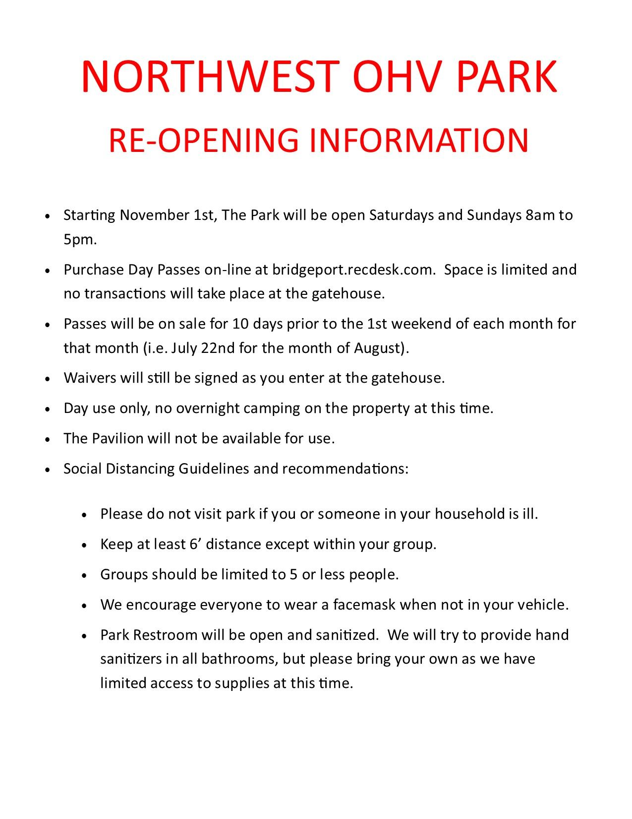 NWP Re-opening info