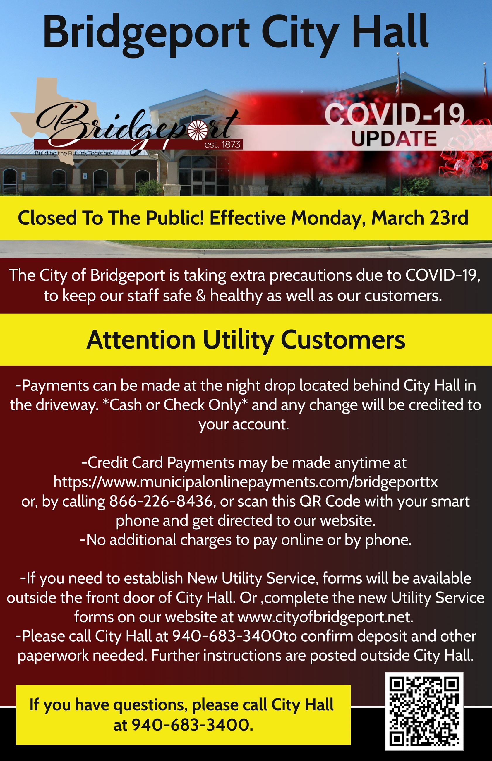 City Hall Flier for Utilities- Closed to Public